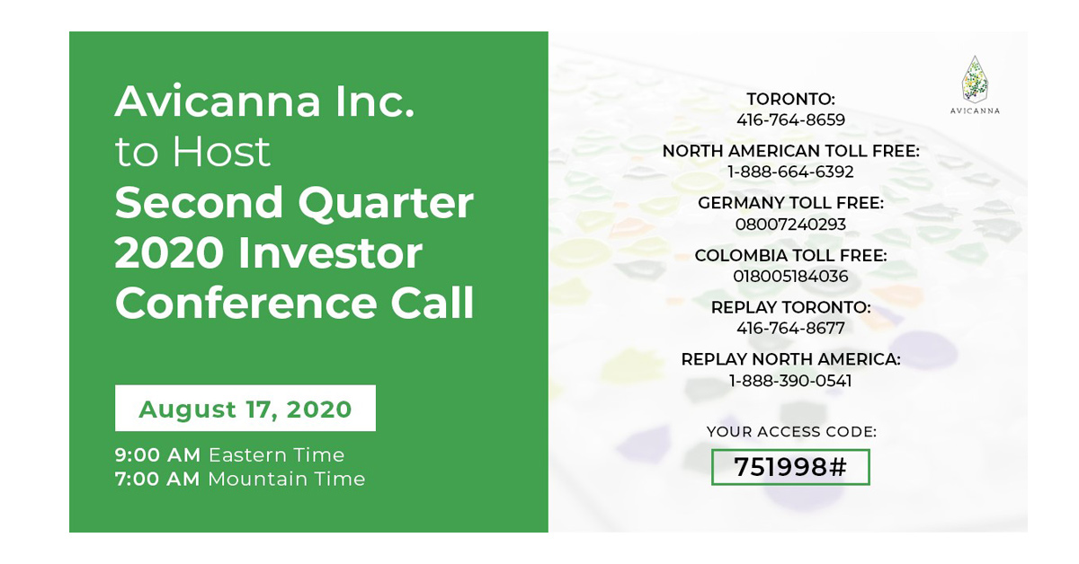 Avicanna Inc. to Host Second Quarter 2020 Investor Conference Call