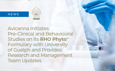 Avicanna Initiates Pre-Clinical and Behavioural Studies on its RHO Phyto™ Formulary with University of Guelph and Provides Research and Management Team Updates